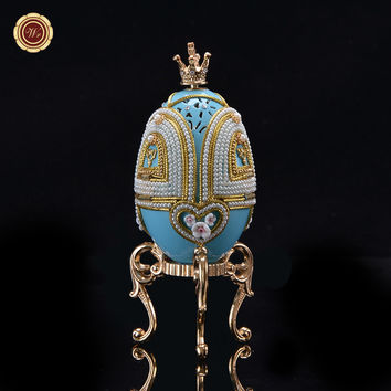 WR Home Art Craft Blue Hollow Carousel Gifts Toy Luxury Egg Carving Music Box Wedding Ornaments Beauty Birthday Item 6X6X14.5 CM