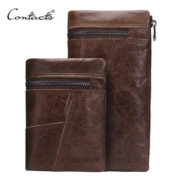 CONTACT'S Genuine leather Men Wallet Zipper Design 2 style Vintage Luxury Brand Clutch Wallets Card Holder Coin Bags Handbag