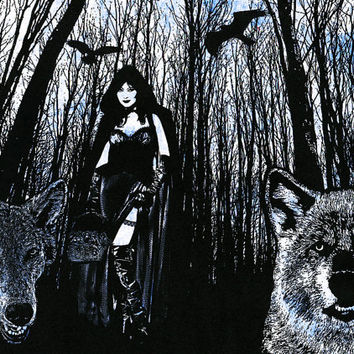 Sexy gothic Red riding hood wolves werewolf original art print digital animals birds trees silhouette sci fi dark fantasy goth artwork