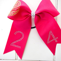 Softball Ribbon Bow with Custom Rhinestone Number Pink
