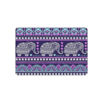 Autumn Fall welcome door mat doormat Ethnic Vintage Elephant Anti-slip  Home Decor, Purple Mandala Indoor Outdoor Entrance  Rubber Backing AT_76_7