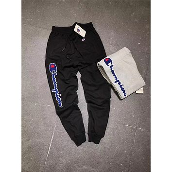 Champion Autumn sports men's trousers and cotton  Little feet pants  knitted terry trousers Black