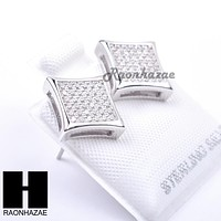 Iced Out Sterling Silver .925 Lab Diamond 10mm Square Screw Back Earring SE011S