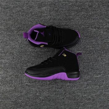 DCCK Kids Air Jordan 12 Black/Purple Sneaker Shoe Size US 11C-3Y