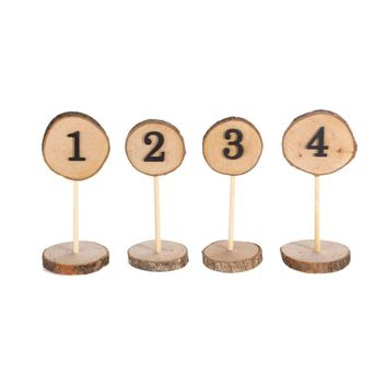 Rustic Wooden Table Numbers 1-10 with Base Holder for Wedding Event Banquet Decor