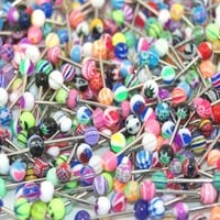 "Lot of 30 Assorted Surgical Steel Barbell Tongue Rings 14 Gauge or 1.6mm- Length 5/8"" or 16mm"