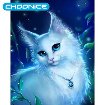 5D Diy Diamond Painting Cats Diamond Embroidery White Kitten Mosaic Diamond Full Compilation Animal Picture Kawaii Pokemon go  AT_89_9