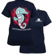 Southern Couture Preppy Seahorse Pattern Navy Girlie Bright T Shirt