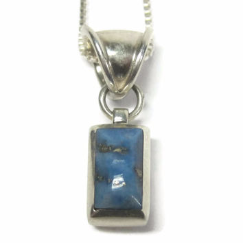 Vintage Denim Lapis Lazuli Pendant Necklace Southwestern Sterling