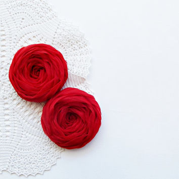Red Fabric Roses Handmade Appliques Embellishment Set of 2