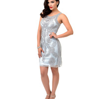 1930s Style Silver Sleeveless Embroidered Lace Cocktail Dress