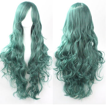 Green Anime Wig Loose Wave Wig Curly Wig