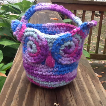 Crochet owl basket - doorknob basket - owl basket -  hanging basket - hook basket - organizing basket - lavender blue purple -