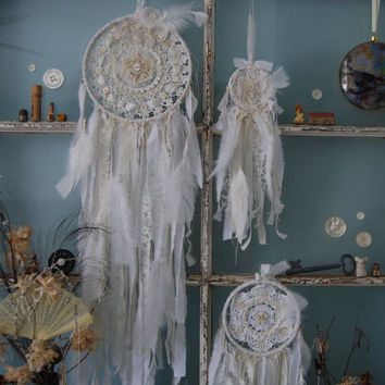 Three's a Charm - Abandoned Vintage Bits of Fabric Crochet and Lace Shabby Chic Dreamcatcher