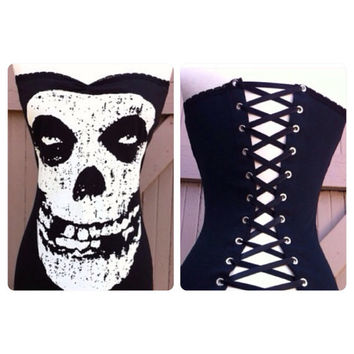 The MISFITS Sexy PUNK Rock n Roll Lace Up Corset top, Danzig Skull Face Shirt, Gothic Goth Psychobilly Modmade to order xs, s, m, l, xl