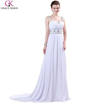 Grace Karin Long Prom Dresses Mermaid Chiffon Crystal Bead Floor Length Elegant Formal Party Gowns White Special Occasion Dress