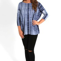 Piko Tops Three Quarter Sleeve Top in Blue Tie Dye T18514306-BLUE