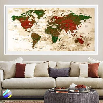XL Poster Push Pin World Map travel Art Print Photo Paper watercolor Old Wall Decor Home (frame is not included) (P24) FREE Shipping USA!!!