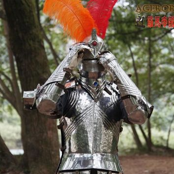 Medieval Armor Gothic Knight Suit Stainless Steel Armor Warrior Cosplay