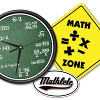 MATH CLASS Wall Clock & Sign Gift Set mathematics Math Decal included