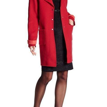 Elie Tahari Notch Lapel Long Sleeve Coat in poppy red, Size S