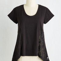 Boho Mid-length Short Sleeves Zest and Relaxation Lounge Top in Black
