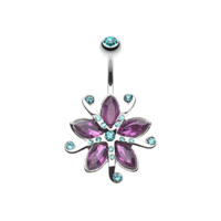Purple Glistening Lily Blossom Flower Belly Button Ring Navel Ring 14ga Body Jewelry 316L Surgical Steel