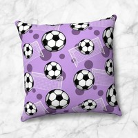 Purple Soccer Throw Pillow - Pattern With Soccer Balls And Goals - Size Options - Cover Only or Full Pillow - Made to Order