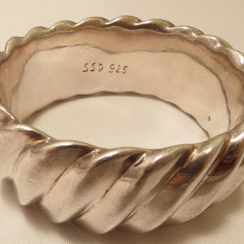 Sterling Silver Wide Cuff Bangle  Bracelet