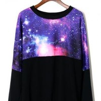 Black Long Sleeve Sweater with Contrast Galaxy Print