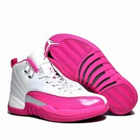 Air Jordan 12 GS Pink White AJ 12 Women Basketball Shoes