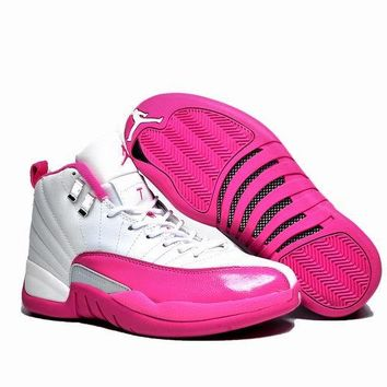 Air Jordan 12 Retro AJ 12 White/Pink Basketball Shoes
