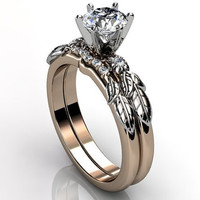 14k two tone rose and white gold diamond unusual unique floral engagement ring, bridal ring, wedding ring, engagement set ER-1054-6