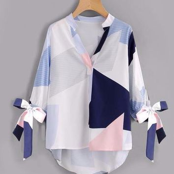 Abstract Geometric Print Blouse