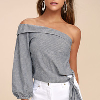 Free People Get Down Blue Striped One Shoulder Crop Top