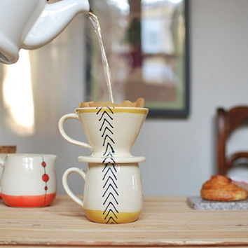 Wheel Thrown Pour Over Coffee Mug Set in Mustard Arrows