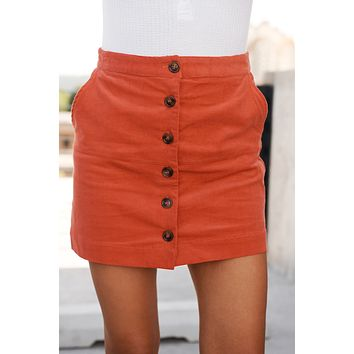 So Buttoned Up Corduroy Skirt (Dark Coral)