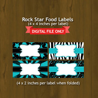 Turquoise Rock Star Food Labels - Turquoise Rock Star Printable Food Labels for birthday or baby shower - DIGITAL FILE
