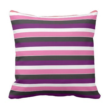 pretty pink purple stripes throw pillow