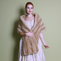 60s Blonde MINK STOLE / Long Autumn Haze WRAP