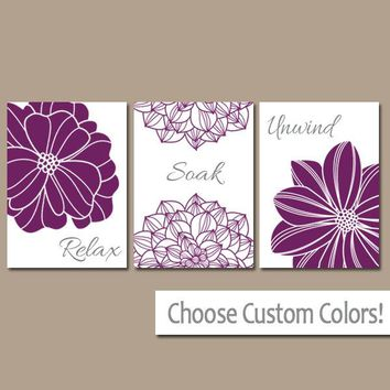 Purple BATHROOM WALL Art, CANVAS or Prints, Bathroom Decor, Dahlia Flower Decor, Relax Soak Unwind, Bathroom Pictures, Set of 3 Bath Decor