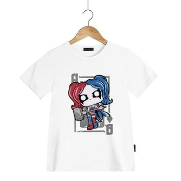 Suicide Squad HARLEY QUINN Printed T-Shirt for Children Boy's Girl's Novelty Popular T Shirt Tops Fashion Tees