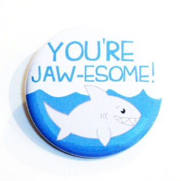 Shark Pins Animal Buttons Shark Week Jawesome Ocean Blue Accessories Pinback Buttons