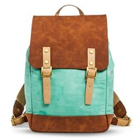 Women's Suede and Canvas Backpack with Magnetic Closure - Mint