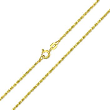 Rope Chain 30 Gauge Necklace 14K Gold Plated 925 Sterling Silver