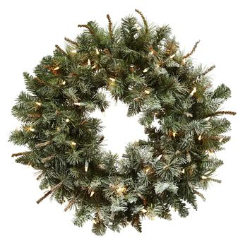 Christmas Wreath -30 Inch Lighted Frosted Pine Door Wreath