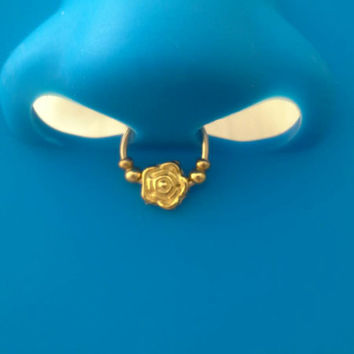 Floral Septum Ring faux nose Gold Ornate  ring piercing imitation (Clip on) filigree nose ring No piercing required, -For him/For her