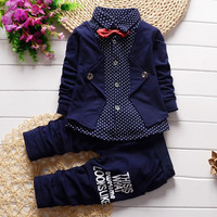 Gentleman style children clothing set baby boys clothing set fake three pieces clothes kids outfits suit