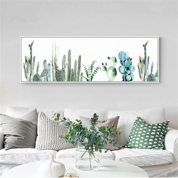 Canvas Green Plants Painting Modern Living Room Home Decor Cactus Natural Wall Art Pictures Large Posters