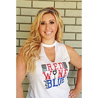 Womens Fourth of July Tank Shirt Red and Blue Funny in White